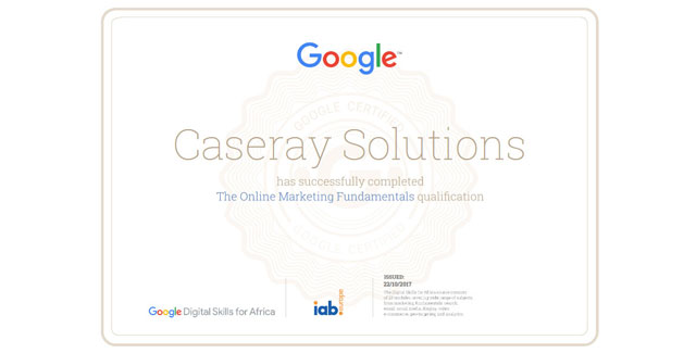 Caseray online marketing certification by Google