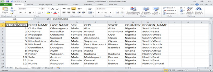 Customer records database design and development for Lagos Nigeria