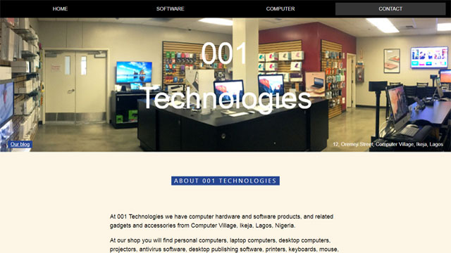 001Technologies mobile friendly website designed and developed by Caseray Solutions Limited