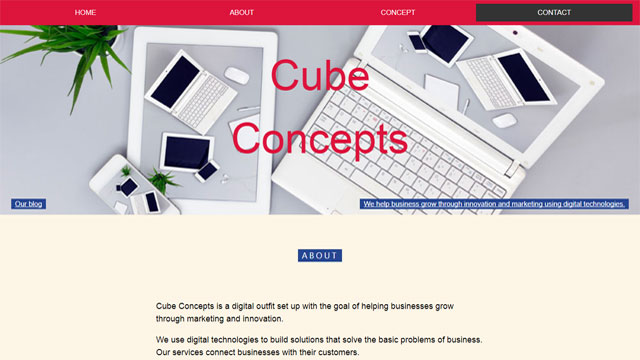 Cube concepts beautiful fast loading website designed by Caseray Solutions