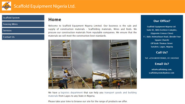 Scaffold Equipment Nigeria Limited website designed and develooped by Caseray Solutions