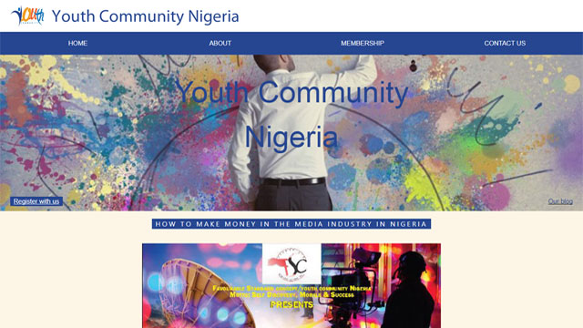 Youth Community Nigeria websited design and development by Caseray Solutions Limited